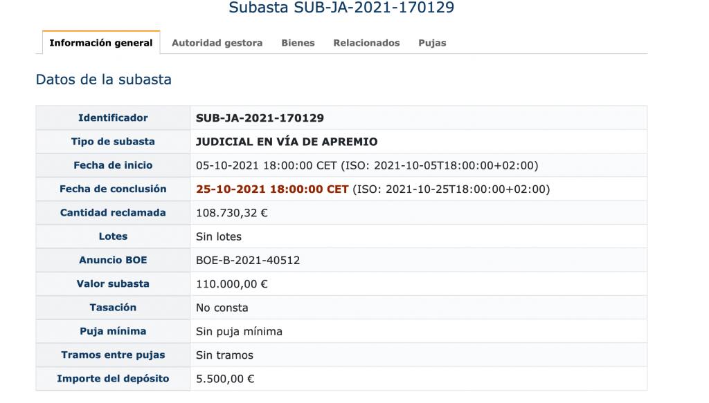 Ficha técnica de inmueble subastado